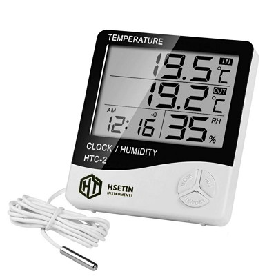 HTC-2 Digital Thermo/Hygrometer Humidity Tester with Clock large 3 line LCD display